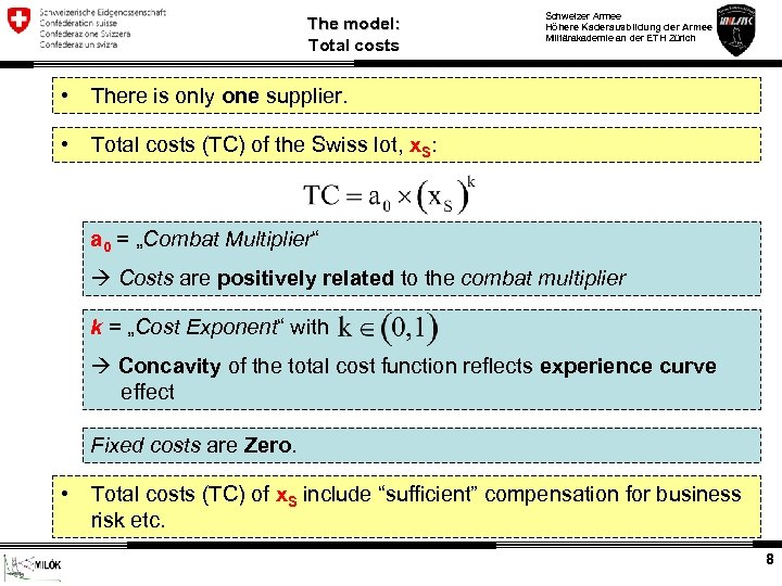 The model: Total costs • There is only one supplier. • Schweizer Armee Höhere