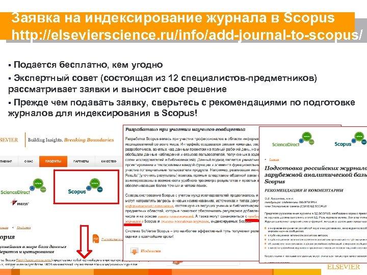 Заявка на индексирование журнала в Scopus http: //elsevierscience. ru/info/add-journal-to-scopus/ Подается бесплатно, кем угодно §