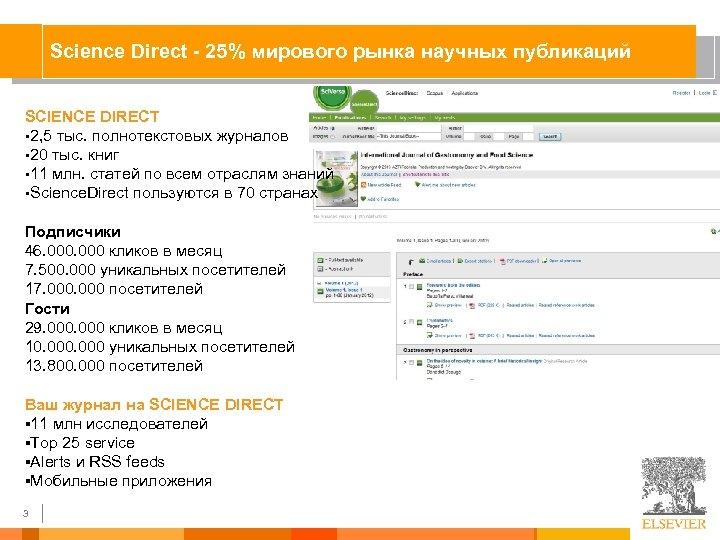 Science Direct - 25% мирового рынка научных публикаций SCIENCE DIRECT § 2, 5 тыс.