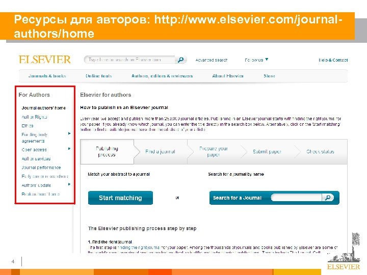 Ресурсы для авторов: http: //www. elsevier. com/journalauthors/home 4