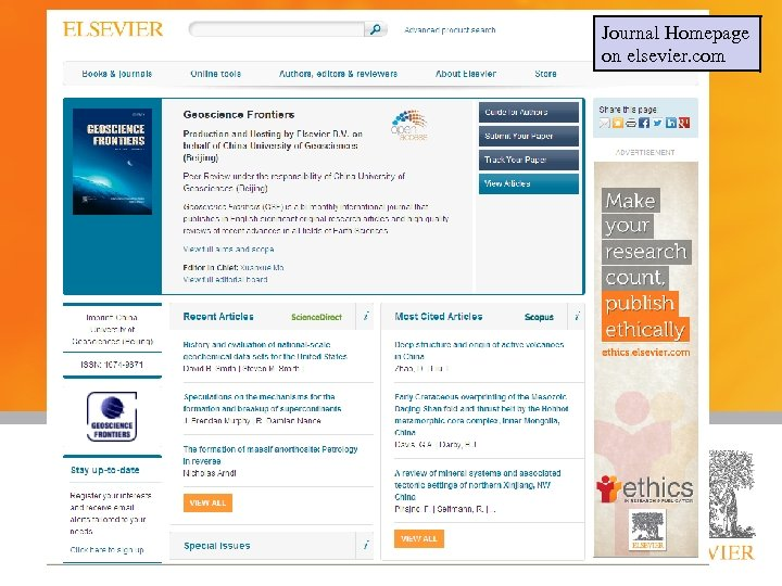 Journal Homepage on elsevier. com Presented by: Title: Date: 8