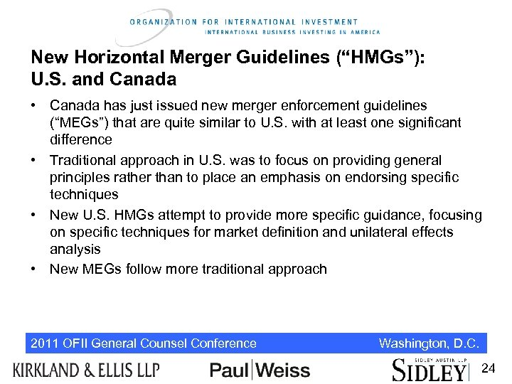 """New Horizontal Merger Guidelines (""""HMGs""""): U. S. and Canada • Canada has just issued"""
