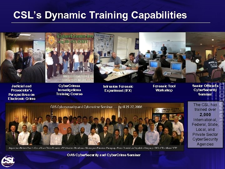 CSL's Dynamic Training Capabilities Judicial and Prosecutor's Perspectives on Electronic Crime Cyber. Crimes Investigations