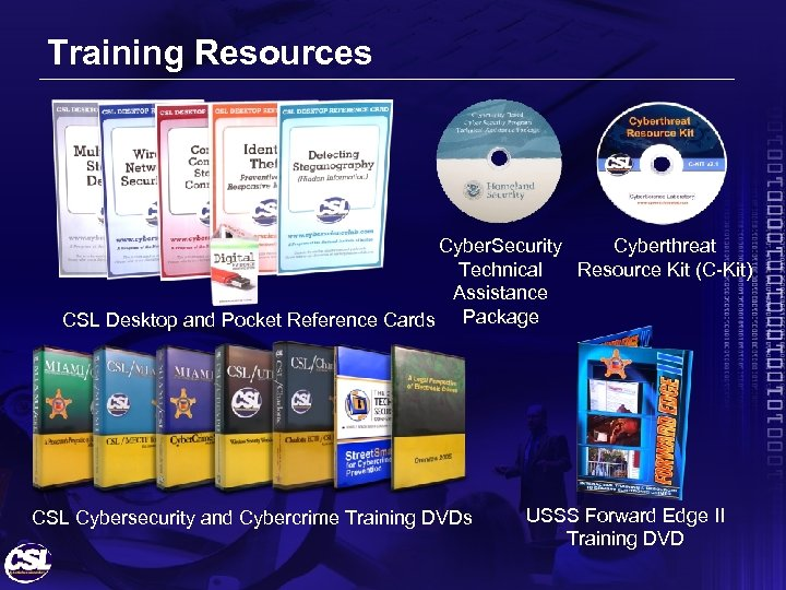 Training Resources Cyber. Security Cyberthreat Technical Resource Kit (C-Kit) Assistance CSL Desktop and Pocket