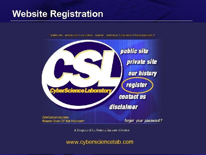 Website Registration www. cybersciencelab. com