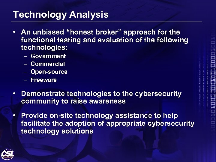 """Technology Analysis • An unbiased """"honest broker"""" approach for the functional testing and evaluation"""