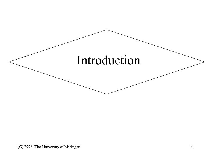 Introduction (C) 2003, The University of Michigan 3