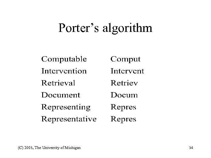 Porter's algorithm (C) 2003, The University of Michigan 34