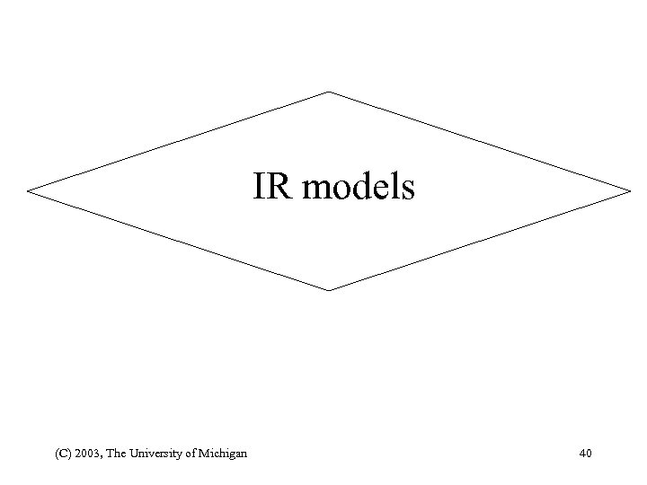 IR models (C) 2003, The University of Michigan 40