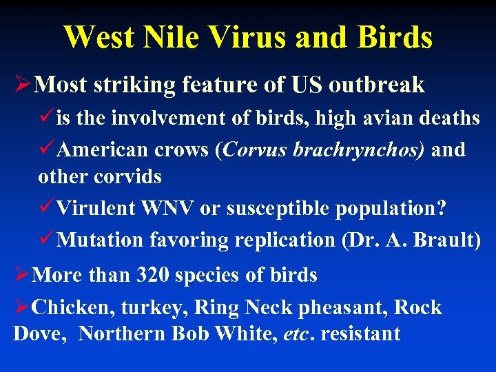 West Nile Virus and Birds ØMost striking feature of US outbreak üis the involvement