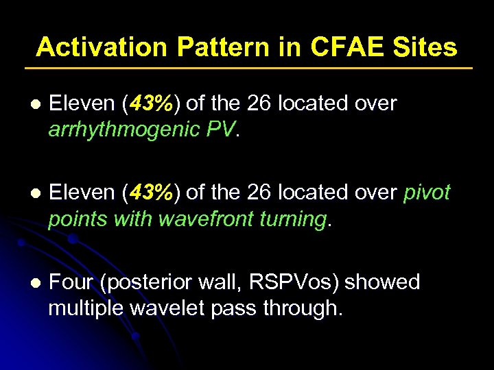 Activation Pattern in CFAE Sites l Eleven (43%) of the 26 located over arrhythmogenic