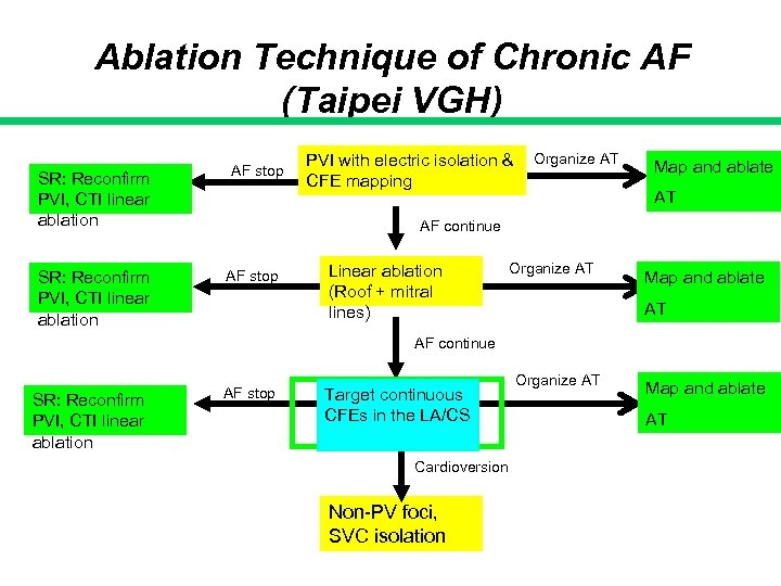Ablation Technique of Chronic AF (Taipei VGH) SR: Reconfirm PVI, CTI linear ablation AF