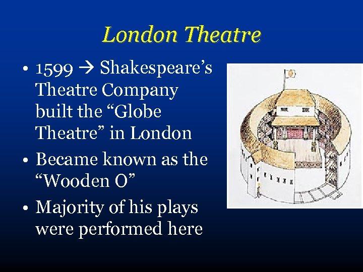 """London Theatre • 1599 Shakespeare's Theatre Company built the """"Globe Theatre"""" in London •"""