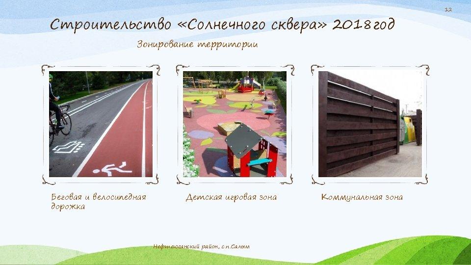 Строительство «Солнечного сквера» 2018 год Зонирование территории Беговая и велосипедная дорожка Детская игровая зона