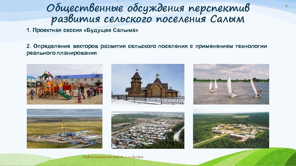 Общественные обсуждения перспектив развития сельского поселения Салым 1. Проектная сессия «Будущее Салыма» 2. Определение