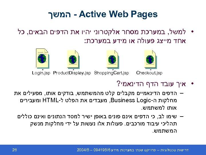- Active Web Pages המשך • למשל, במערכת מסחר אלקטרוני יהיו את הדפים