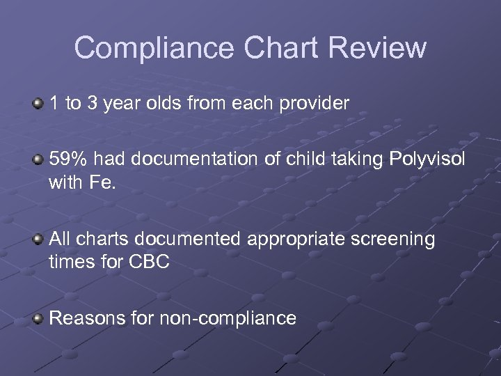Compliance Chart Review 1 to 3 year olds from each provider 59% had documentation