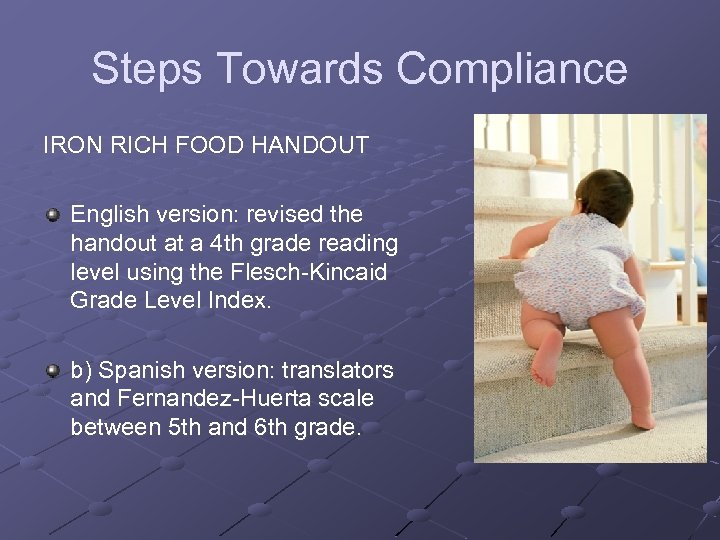 Steps Towards Compliance IRON RICH FOOD HANDOUT English version: revised the handout at a