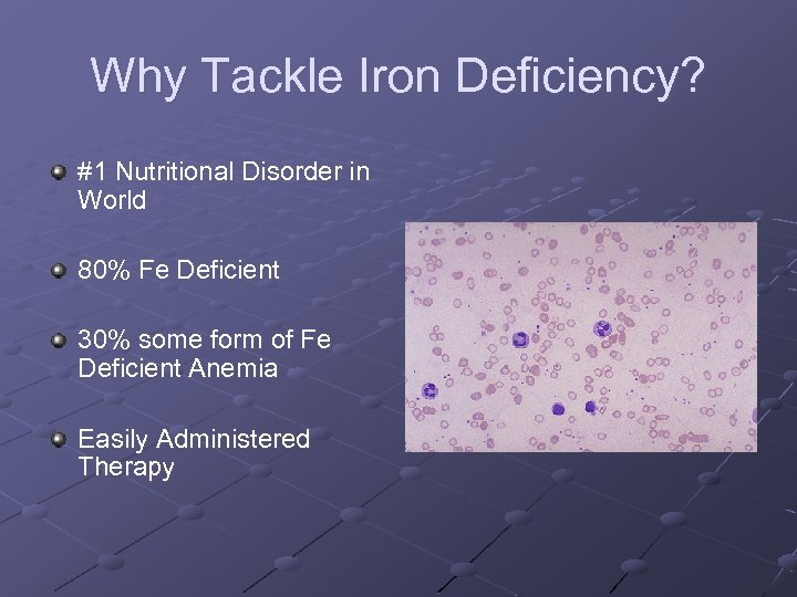 Why Tackle Iron Deficiency? #1 Nutritional Disorder in World 80% Fe Deficient 30% some