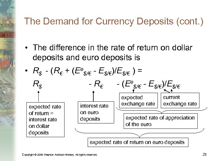 The Demand for Currency Deposits (cont. ) • The difference in the rate of