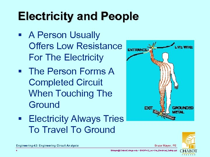 Electricity and People § A Person Usually Offers Low Resistance For The Electricity §