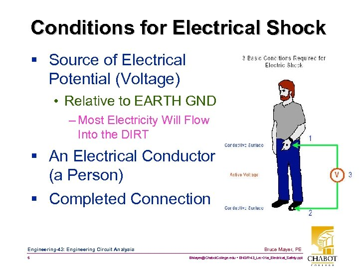 Conditions for Electrical Shock § Source of Electrical Potential (Voltage) • Relative to EARTH