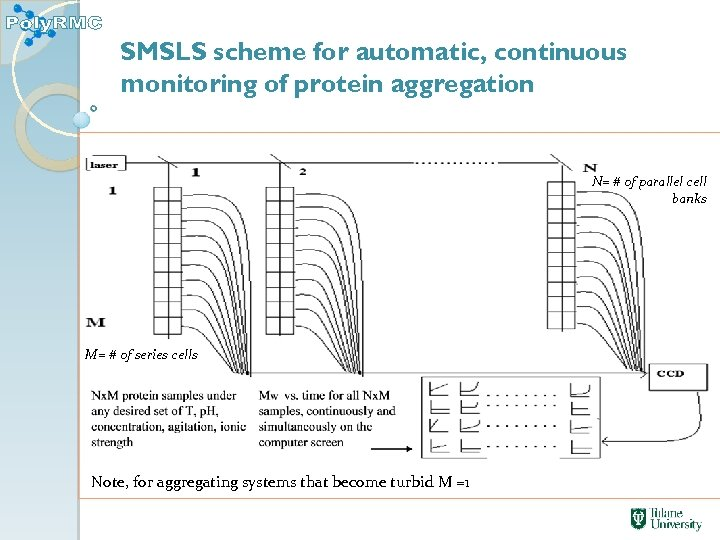 SMSLS scheme for automatic, continuous monitoring of protein aggregation N= # of parallel cell