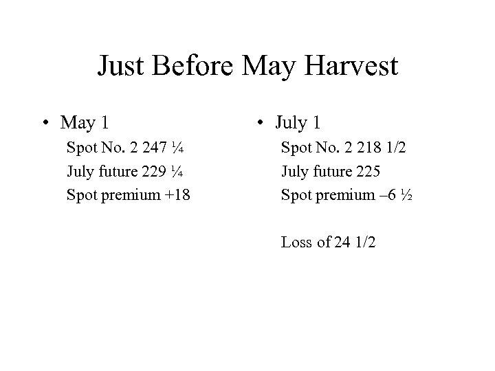Just Before May Harvest • May 1 Spot No. 2 247 ¼ July future