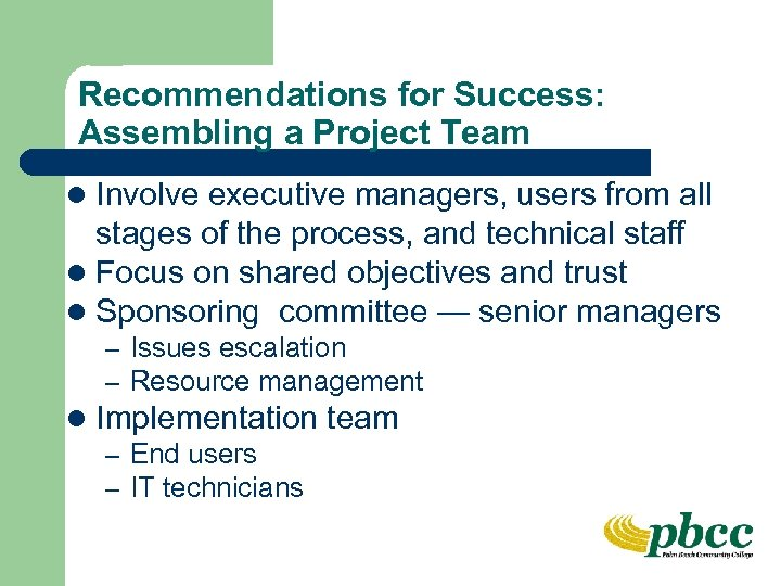 Recommendations for Success: Assembling a Project Team l Involve executive managers, users from all