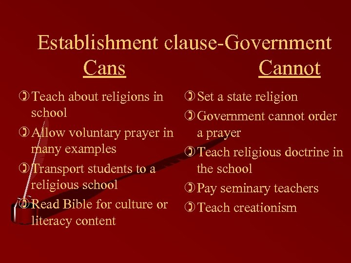 Establishment clause-Government Cans Cannot ) Teach about religions in school ) Allow voluntary prayer