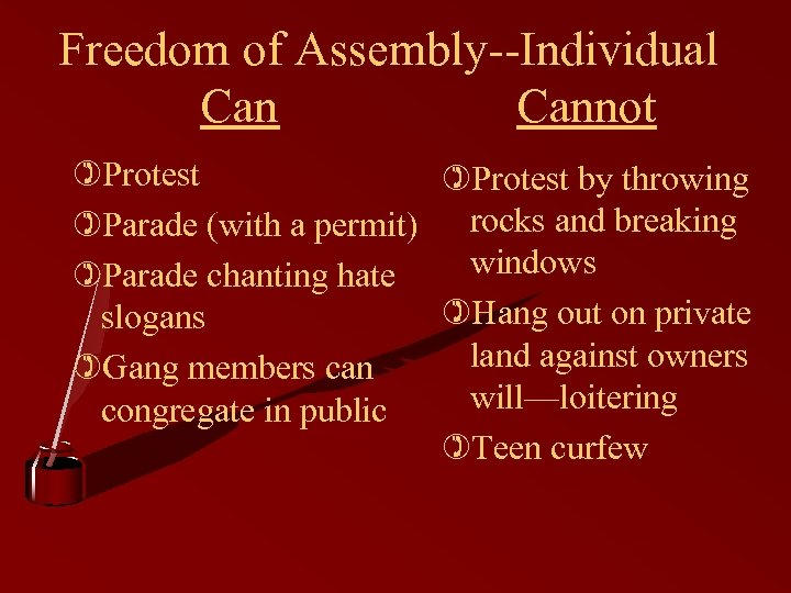 Freedom of Assembly--Individual Cannot )Protest by throwing )Parade (with a permit) rocks and breaking
