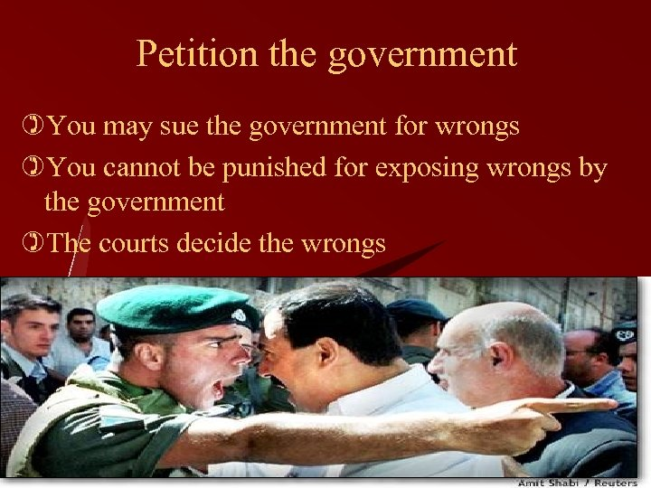 Petition the government )You may sue the government for wrongs )You cannot be punished