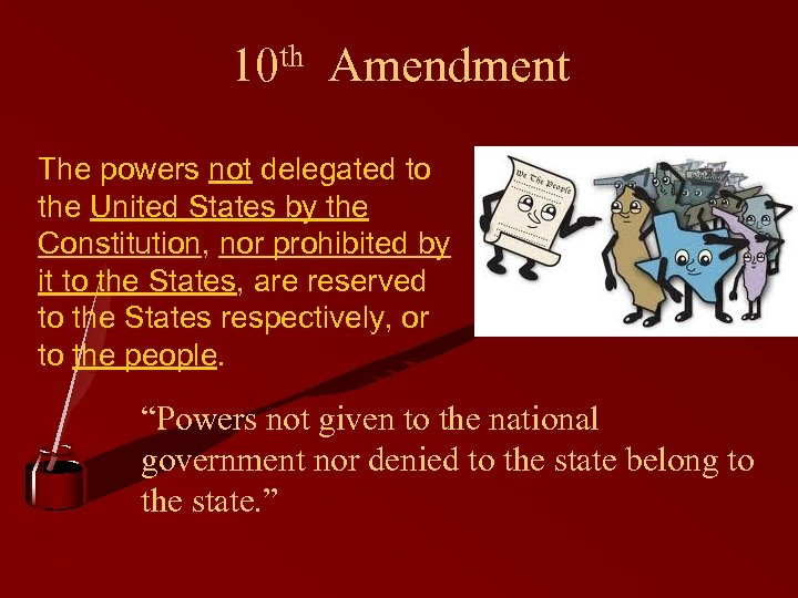 10 th Amendment The powers not delegated to the United States by the Constitution,