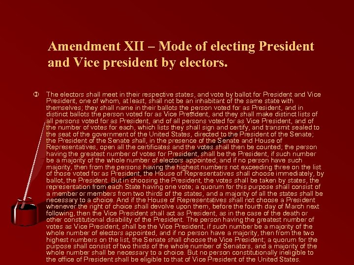 Amendment XII – Mode of electing President and Vice president by electors. ) The