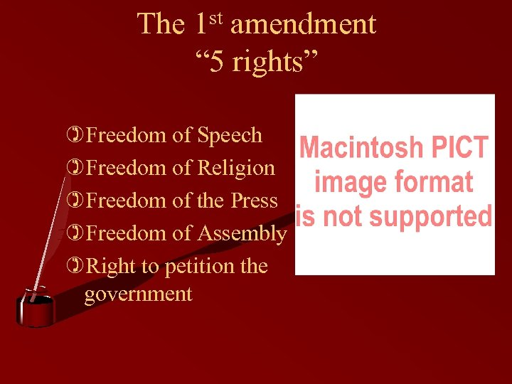 "The 1 st amendment "" 5 rights"" )Freedom of Speech )Freedom of Religion )Freedom"