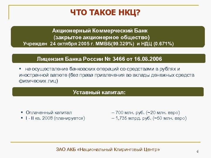 ЧТО ТАКОЕ НКЦ? Акционерный Коммерческий Банк (закрытое акционерное общество) Учрежден 24 октября 2005 г.