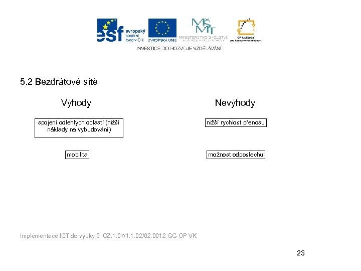 5. 2 Bezdrátové sítě Výhody spojení odlehlých oblastí (nižší náklady na vybudování) mobilita Nevýhody