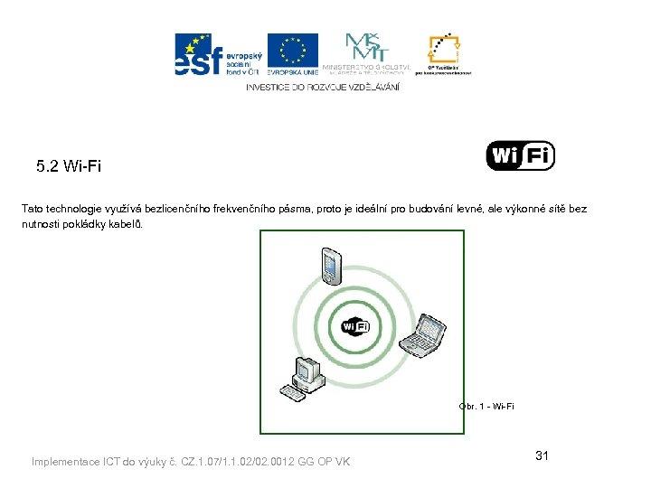 5. 2 Wi-Fi Tato technologie využívá bezlicenčního frekvenčního pásma, proto je ideální pro budování