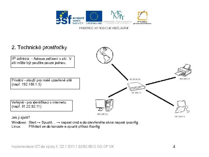 2. Technické prostředky IP adresa: - Adresa zařízení v síti. V síti může být
