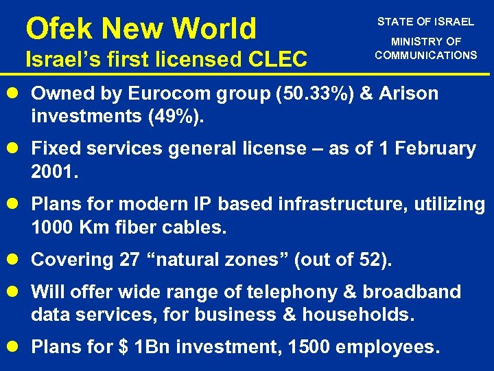 Ofek New World Israel's first licensed CLEC STATE OF ISRAEL MINISTRY OF COMMUNICATIONS l