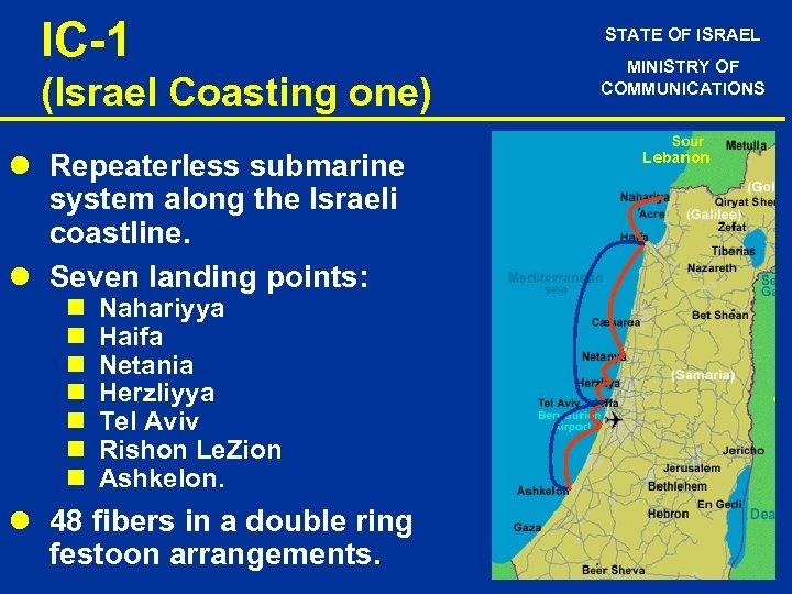 IC-1 (Israel Coasting one) l Repeaterless submarine system along the Israeli coastline. l Seven