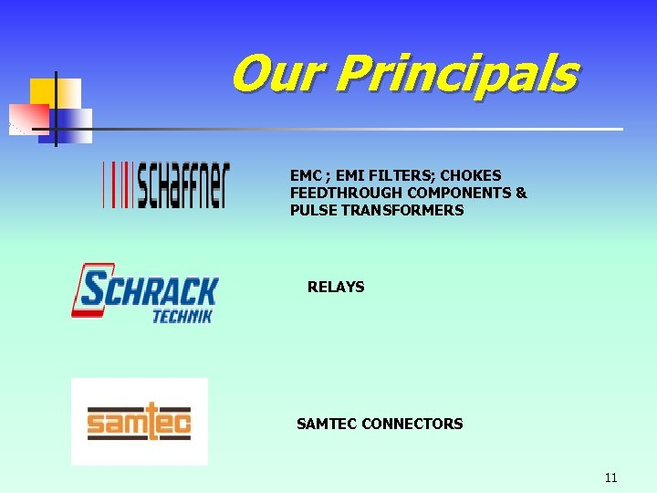 Our Principals EMC ; EMI FILTERS; CHOKES FEEDTHROUGH COMPONENTS & PULSE TRANSFORMERS RELAYS SAMTEC