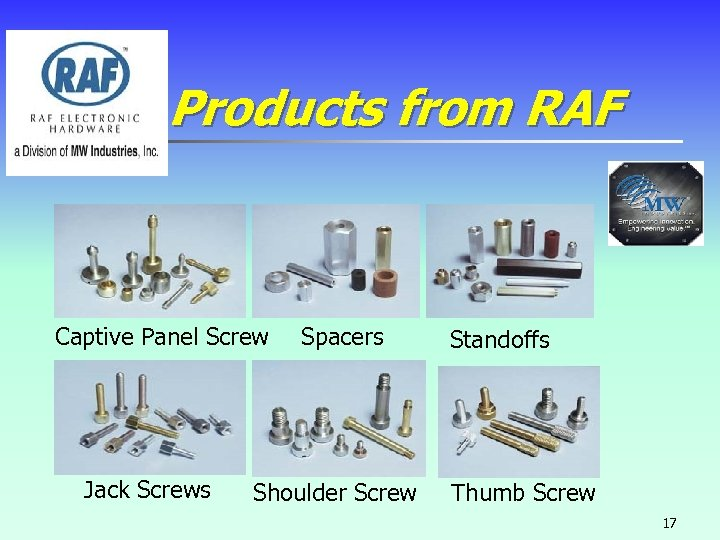 Products from RAF Captive Panel Screw Jack Screws Spacers Shoulder Screw Standoffs Thumb Screw