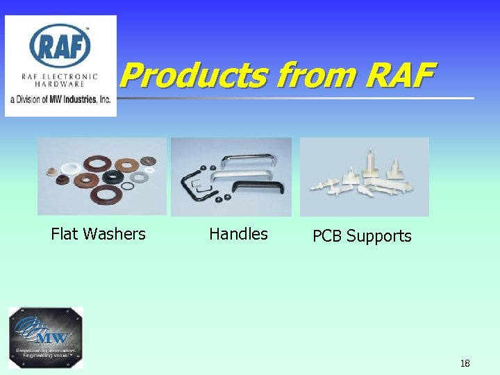 Products from RAF Flat Washers Handles PCB Supports 18