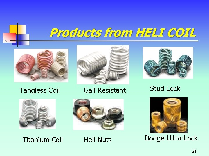Products from HELI COIL Tangless Coil Titanium Coil Gall Resistant Heli-Nuts Stud Lock Dodge