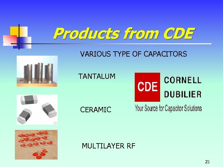 Products from CDE VARIOUS TYPE OF CAPACITORS TANTALUM CERAMIC MULTILAYER RF 23