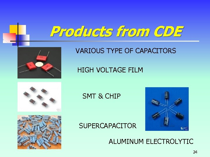 Products from CDE VARIOUS TYPE OF CAPACITORS HIGH VOLTAGE FILM SMT & CHIP SUPERCAPACITOR