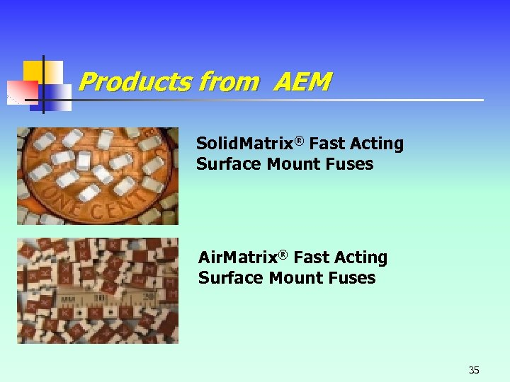 Products from AEM Solid. Matrix® Fast Acting Surface Mount Fuses Air. Matrix® Fast Acting