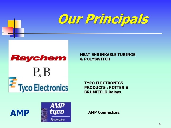Our Principals HEAT SHRINKABLE TUBINGS & POLYSWITCH TYCO ELECTRONICS PRODUCTS ; POTTER & BRUMFIELD