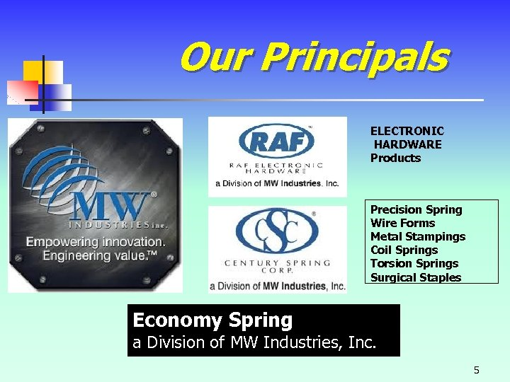 Our Principals ELECTRONIC HARDWARE Products Precision Spring Wire Forms Metal Stampings Coil Springs Torsion